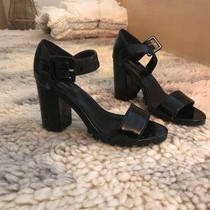 Black Mary Jane Heeled Sandal